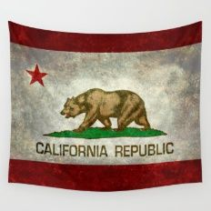 Californian state flag - The California Republic Bear flag in Retro style Wall…