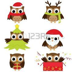 Natale e Capodanno gufi in costumi divertenti - vector set photo