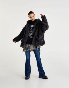 :Ζακέτα γούνινη με κουκούλα