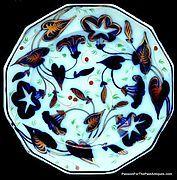 COPPER LUSTER BRUSH STROKE FLOW BLUE, MORNING GLORY, CIRCA 1840-1850