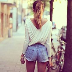 Blouse with high waisted shorts