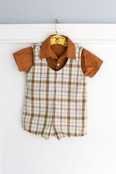 6-12 Months: Vintage Baby Boy JonJon Romper with matching shirt www.etsy.com/shop/petitpoesy