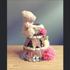 Shabby It's a Girl diaper cake with pink mums, burlap and ivory flowers, pendant flag, & teddy bear, shabby shower centerpiece, burlap cake
