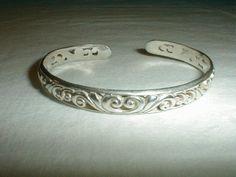 vintage sterling silver filigree cuff bracelet 925 - Quality Vintage Jewelry