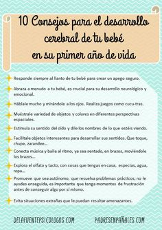 Consejos para el desarrollo cerebral de tu bebé durante el primer año de vida. Post escrito por Cristina, Psicóloga en Zaragoza.