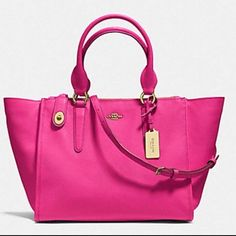 NEW Gorgeous Coach Crosby Carryall Ruby Pink Crossgrain leather convertible handbag with a removable crossbody strap. Original price $395. Comes with dustbag. All the hardware still has plastic on it. Please NO LOWBALLING NO TRADES. Thank you!:) I ship same day! Price reduced! Coach Bags Shoulder Bags