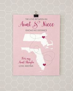 Christmas gift aunt niece auntie gift personalized picture frame aunt niece gifts map auntie present long distance art moving away missing negle Images