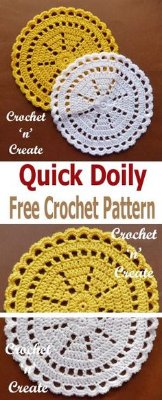 crochet this quick doily in just an hour or so, free crochet pattern. #crochetncreate #crochetdoily