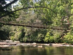 The Swinging Bridge sits over the Toccoa River, located on the Benton MacKaye Trail and the Duncan Ridge National Recreation Trail in Fannin County, Georgia.