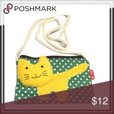 """KITTY WALLET / BAG Absolutely the cutest wallet/bag you""""ll ever see!  Use it to stow your $, credit cards, phone, lip gloss, coupons or whatever is your cat's meowin your handbag, pull it out and use the 48"""" strap to turn it into a cross body for a quick trip into the store so you don't have to haul your big bag in with you! Or...... yes, if you can part with it, your favorite little would be delighted with it as well! Bags Wallets"""