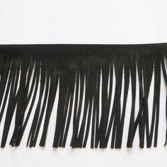 Quastenborte & Fransenband - 1 m Lederfransen / schwarz - ein Designerstück von treuepfand-DIY bei DaWanda