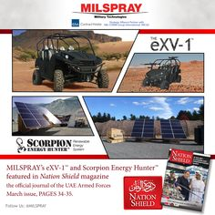 MILSPRAY's eXV-1™and Scorpion Energy Hunter™ were featured in the: Nation Shield magazine, March issue, (pages 34-35). To view the current March issue of National Shield:Click Here For the latest...