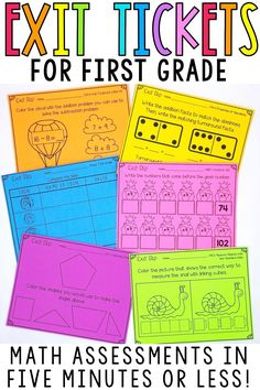 Use these printable & digital Google Classroom math assessments for quick, formative assessment for your first grade students. Teachers will love how easy it is to assess small group or whole group learning with these tools. They follow the Common Core standards and are easy to add to any of your math activities or lesson plans. These exit slips and exit tickets assess the basic number sense and problem solving skills for all standards. They are great to use for test prep in the classroom!