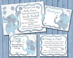 Blue grey Elephant baby shower printable by PinkRockPrintables