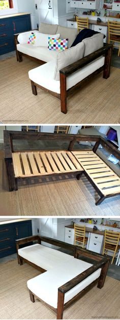 Diy husky modern dining table mesas comedores y madera check out how to make a diy wooden small sectional from 2x4s istandarddesign solutioingenieria Choice Image
