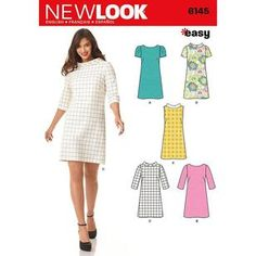 """Sewing Dresses Simplicity 6145 Size A """"Misses' Dresses"""" New Look Sewing Pattern - New Look """"easy"""" sewing pattern 6145 Misses' knee length shift dress Size: Number of looks: 5 Available in Sizes: A are written in English, French and Spanish;Made in the USA New Look Patterns, Easy Sewing Patterns, Vintage Sewing Patterns, Clothing Patterns, Pattern Sewing, Shirt Patterns, Paper Patterns, Simplicity Patterns, Pants Pattern"""