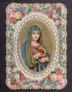 """Coeur Sacré de Marie, impression sur dentelle de papier, dit """"canivet""""."""