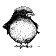 Angry Bird, Rotring Rapidograph auf 250 g/qm Bristol Drawing Board, A4