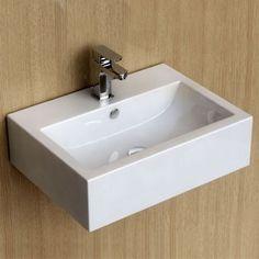 Lave mains suspendu 54x40 cm, céramique, Pure