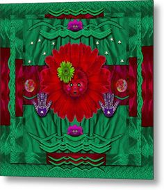 Panda Metal Print featuring the mixed media Flower Girl With Sunrose In Her Hair…