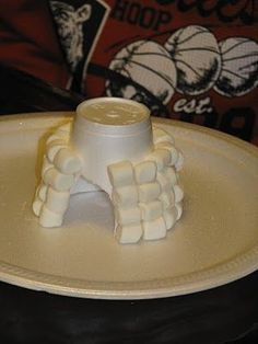 Winter crafts: Make a marshmallow igloo using a Styrofoam cup base. Could also do with cotton balls.