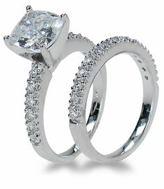Ziamond Cubic Zirconia 2.5 carat 8mm x 8mm Cushion Cut and Pave Set Bridal Set in 14k white gold.  The Nora Bridal Set engagement ring and matching band feature the finest hand cut and hand polished original Russian formula cz set in a high quality solid gold mounting