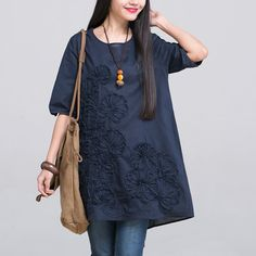 fbab05ef74 New Spring Summer Pregnancy Clothing Plus Size O-neck Embroidered Maternity  Dresses Linen Clothes for Pregnant Women