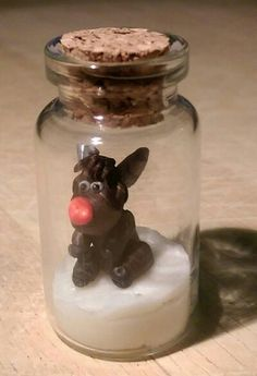 Polymer clay bottle charm, Rudolph