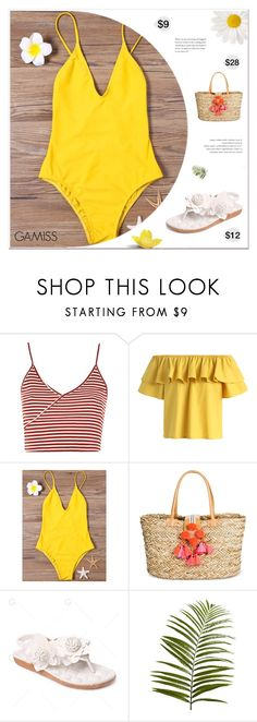 """Sunshine Is The Best Medicine"" by paradiselemonade ❤ liked on Polyvore featuring Topshop, Chicwish, Merona, Pier 1 Imports, bikini, sweamwear, sweamsuit and gamiss"