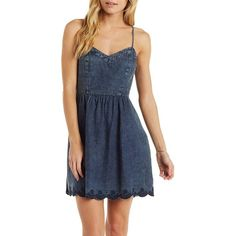 En Crème Scalloped Denim Skater Dress ($53) ❤ liked on Polyvore featuring dresses, medium blue denim, embroidered denim dress, punk dress, embroidered dress, sweetheart dress and skater dress