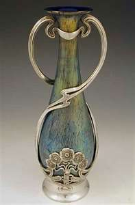 Loetz Art Nouveau Irridescent Glass Vase with Juventa Pewter Mount.....beautiful