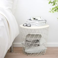 Look what I've found at IKEA - bedside table Ikea Storage, Table Storage, Storage Baskets, Toy Storage, Modern Bedside Table, Ikea Hack, Small Cupboard, Head Boards, Lineup