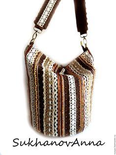 """Купить Бохо-сумка """"Кантри"""" - коричневый, в полоску, бохо-сумка, сумка бохо, встиле бохо"""