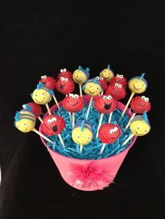 Little Mermaid cake - flounder and sebastian cakepops