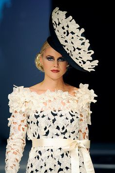 Big saucer hat specially designed for Ronald Kolk runway show black sinamay covered with off white lace on comb