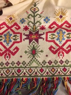 Vintage Hand Embroidered Table Runner Dresser Scarf Ethnic Motif Multicolored
