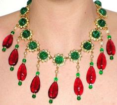 New Kenneth Jay Lane KJL Resin Starburst Red Mogul Book Piece Necklace SALE…