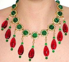 New Kenneth Jay Lane KJL Resin Starburst Red Mogul Book Piece Necklace SALE…