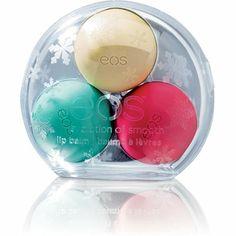 Eos Holiday Lip Balm 3pc - Vanilla Bean, Pomegranate Raspberry, and Sweet Mint