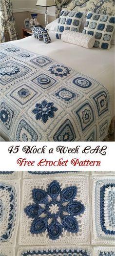 produzindo manualmente Crochet Motifs, Crochet Blocks, Granny Square Crochet Pattern, Afghan Crochet Patterns, Crochet Squares, Crochet Afghans, Knitting Patterns, Ravelry Crochet, Crochet Stitches
