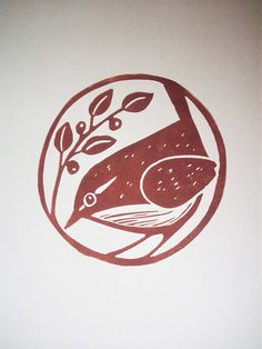 "Print - Carolina Wren - Stamp ""Wren"" via Lorenz Kraft - Stamp Printing, Screen Printing, Image Deco, Illustration Noel, Botanical Illustration, Stamp Carving, Handmade Stamps, Linoprint, Arte Floral"