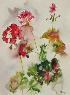 "Saatchi Online Artist: Joyce Ann Burton-Sousa; Watercolor, 2012, Painting ""Lively Geraniums"""