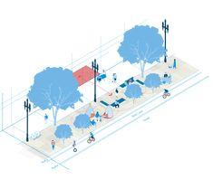 Architecture Graphics, Architecture Drawings, Concept Architecture, Urban Design Concept, Urban Design Diagram, Architecture Portofolio, Activity Diagram, Parque Linear, Axonometric Drawing