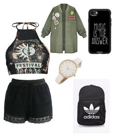 """💛💍🤙🏽"" by faithxjones on Polyvore featuring Boohoo, Chicwish, Casetify and adidas Originals"