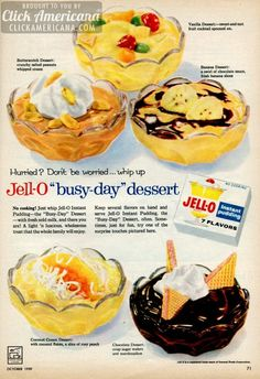 Busy day desserts with Jello pudding (1959)