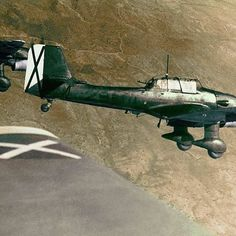 "the_ww2_memoirs A squadron of Ju-87 ""Stuka"" dive-bombers in flight formation prepare to descend into a dive onto enemy targets during the Spanish Civil War, 1939. When this photo was taken many Ju-87 ""Stuka"" five-bombers were equipped with a siren nicknam"