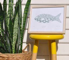 'Curly Fish (Light Grey)' Lino Print by Pigeon Gillian www.etsy.com/au/shop/Pigeongillian