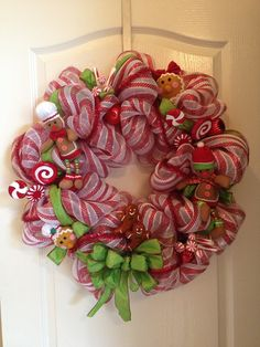 christmas mesh wreaths photos | Christmas Mesh Wreath Red White Ginger Bread door decor by aydeebo, $ ...