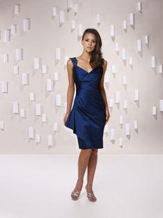 e046006130dff Sheath column taffeta bridesmaid gown with knee-length Air Force blue!
