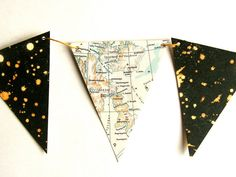 maps and starry night bunting
